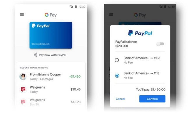 An image of both Google Pay and PayPal apps, as part of the new partnership between PayPal and Google.