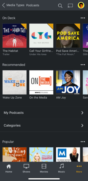 A screen shot of Plex podcasts as seen in the app interface.