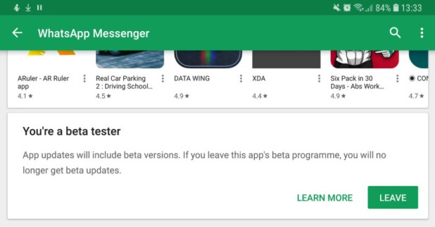 The beta section on the WhatsApp Play Store listing - whatsapp tricks