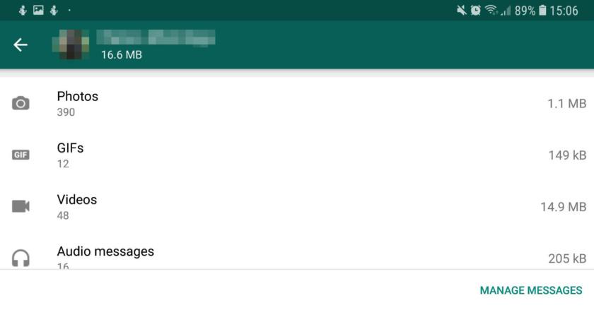 A storage management option in WhatsApp - whatsapp tricks