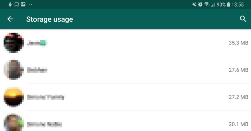 The storage breakdown section in WhatsApp - whatsapp tricks