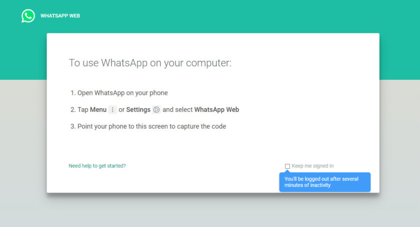 The login screen for WhatsApp Web - whatsapp tricks
