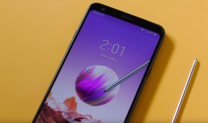 An image of the LG Stylo 4 and its stylus pen.
