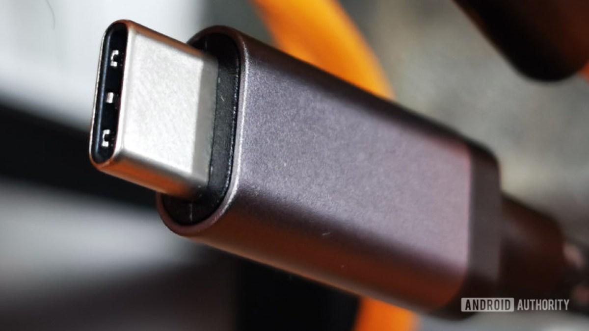 Разъем USB-C крупным планом макросъемки