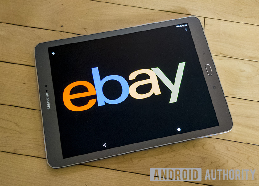 An image of a tablet with the eBay logo featured prominently.