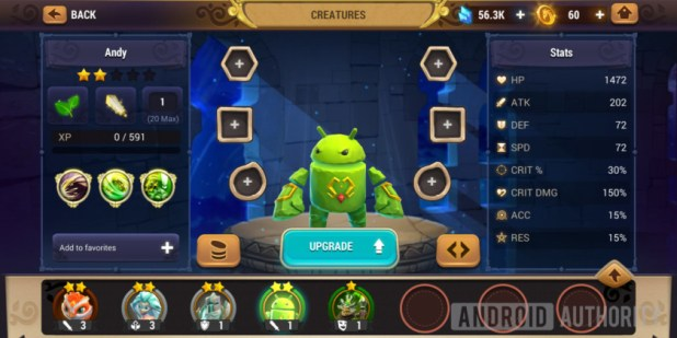 might & magic elemental guardians android creature andy