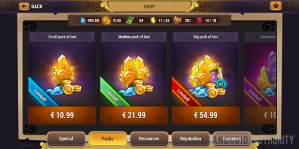 might & magic elemental guardians cash shop in app purchases