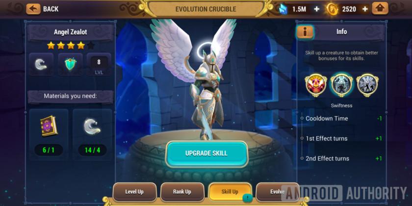 might & magic elemental guardians evolution skill up