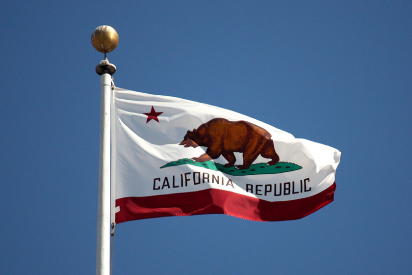 An image of the California flag on a white pole with blue sky behind it.