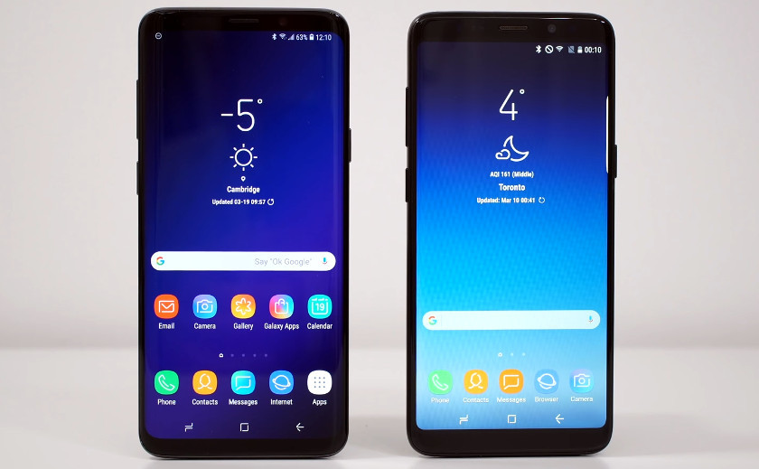 Image of real and fake Samsung Galaxy S9s side by side