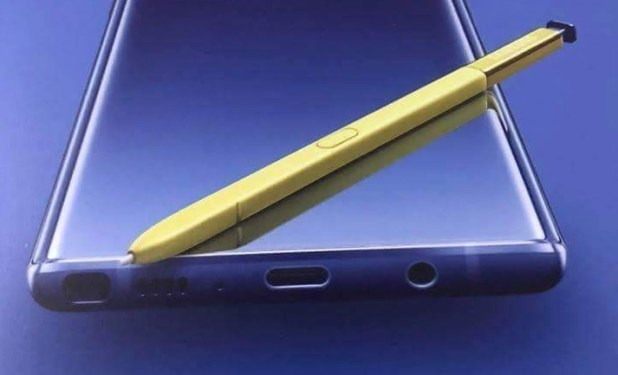 A leaked Samsung Galaxy Note 9 image featuring a purple handset with gold stylus.