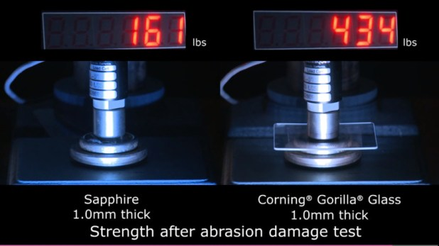 Sapphire glass and Gorilla Glass undergo a Corning damage test.