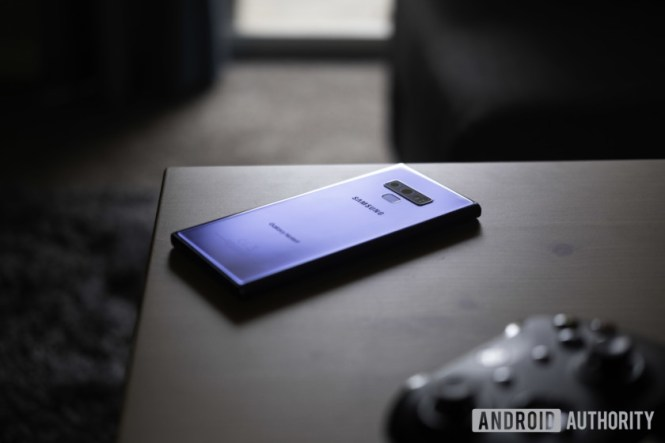 The Samsung Galaxy Note 9 face-down on a table.