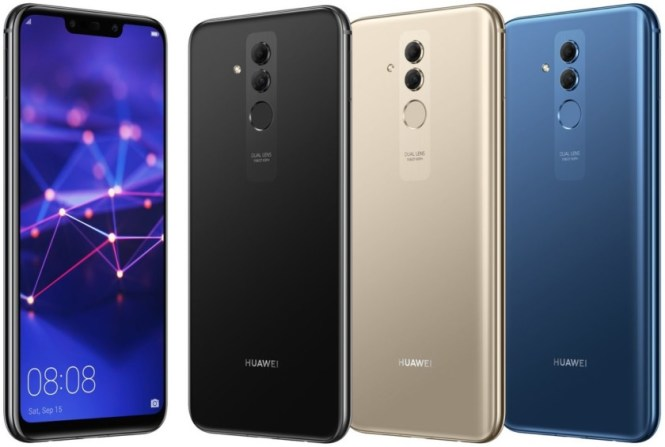 Leaked images of the Huawei Mate 20 Lite, in black, gold, and blue.
