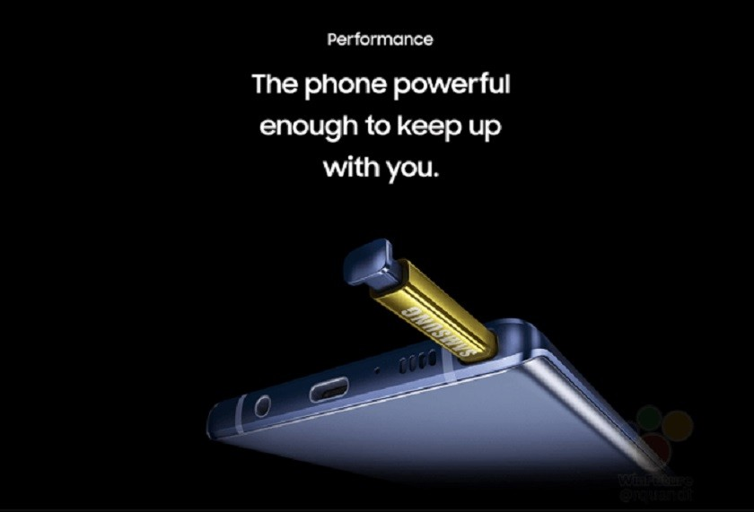 Samsung Galaxy Note 9 leaked promo image showing the S Pen up close.