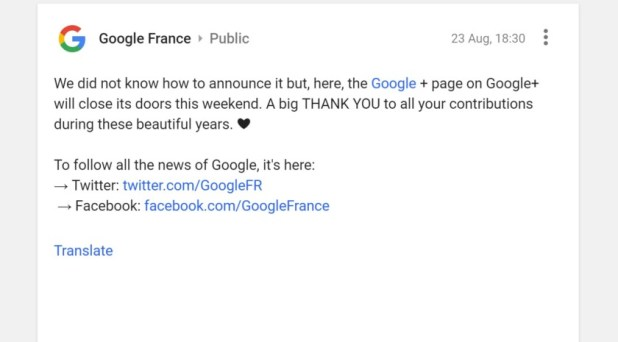 Google Plus France post to announce it is closing.