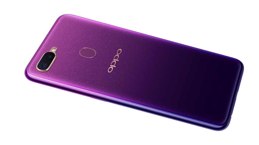 The Oppo F9 in starry purple.
