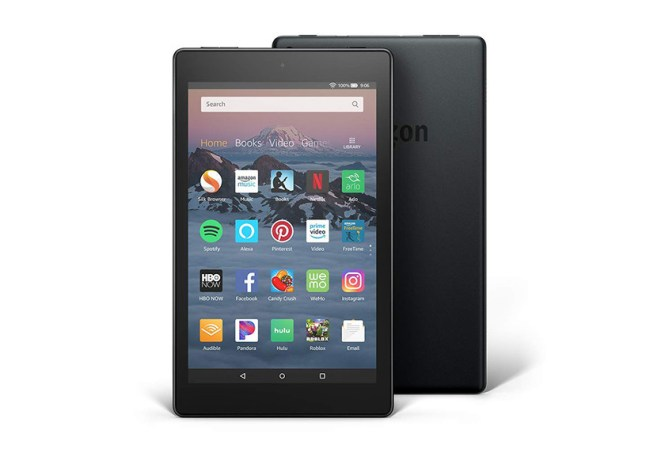 An image depicting the front and back of an Amazon Fire HD 8 tablet, the 2018 model.