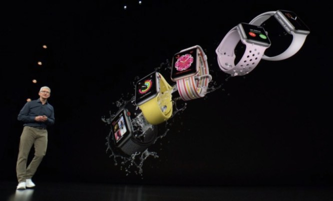 Various Apple Watch models as seen at the Apple Event 2018.