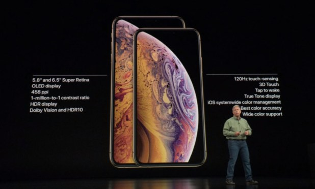 The iPhone XS and iPhone XS Max as seen on stage during the Apple Event 2018.