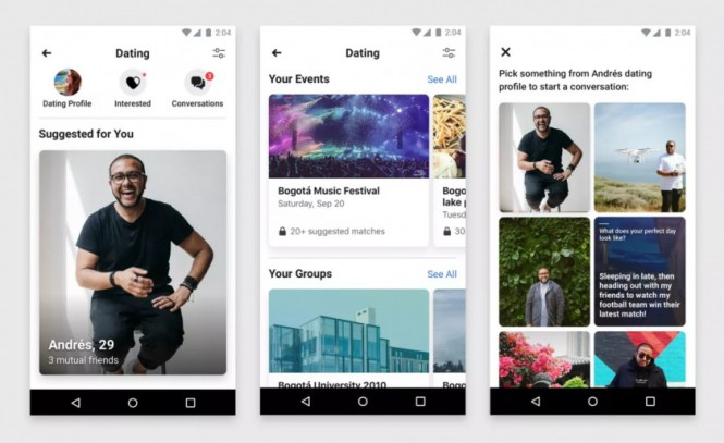 Screenshots of the Facebook Dating app, supplied by Facebook.