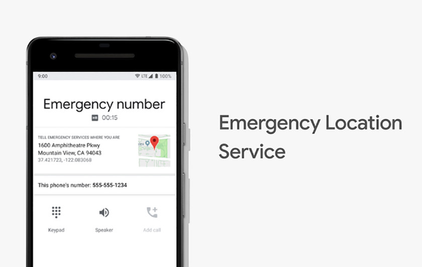 A promotional image of Google Emergency Services on a U.S. smartphone.