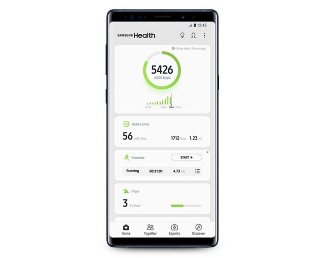 Screenshots of the updated Samsung Health app, Samsung Health 6.0.