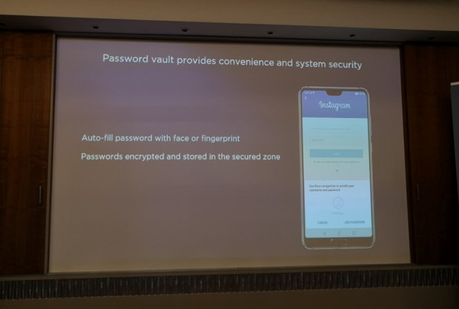 Huawei password vault details from a slide.