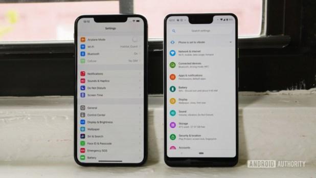 Apple iPhone Xs Max vs Google Pixel 3 XL - settings