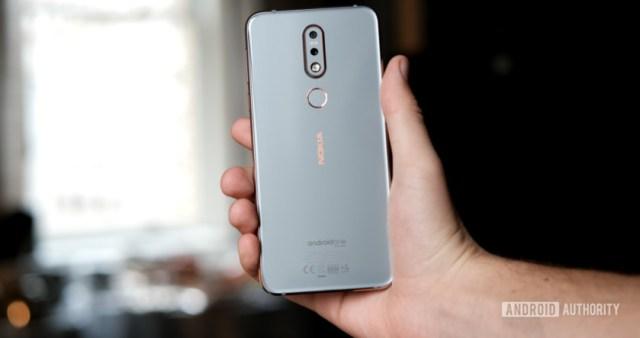 Nokia 7.1 holding back of phone