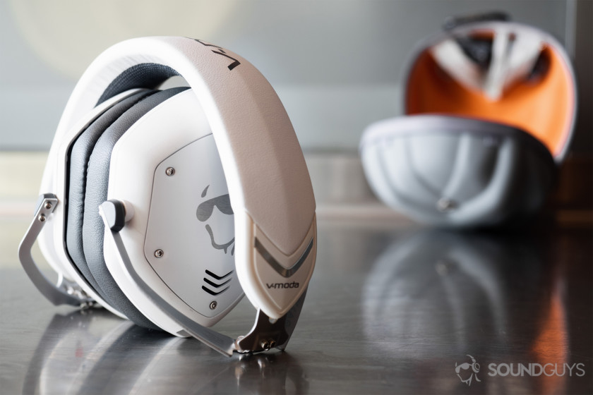 Best Bluetooth headphones: V-Moda Crossfade 2 Wireless Codex with SoundGuys logo on the earcups. The headphones are in white with the clamshell carrying case behind.