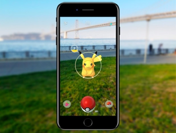 Pokemon Go render image of a Pikachu inside a smartphone viewfinder.