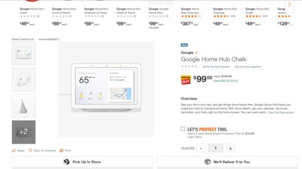 Google Home Hub Home Depot Sale