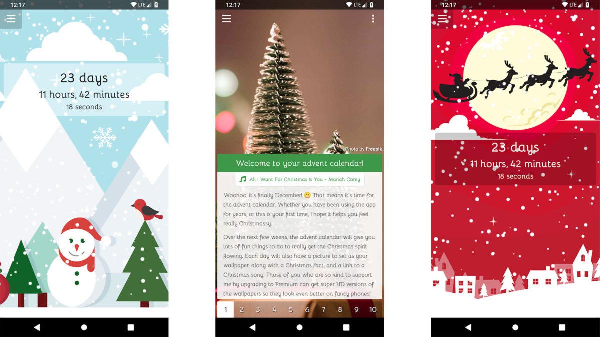 Captura de tela da contagem regressiva de Natal