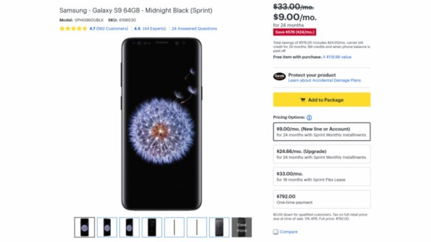 Samsung Galaxy S9 deal from Best Buy.