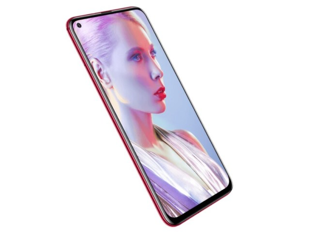 The Huawei Nova 4 smartphone in red from the front.