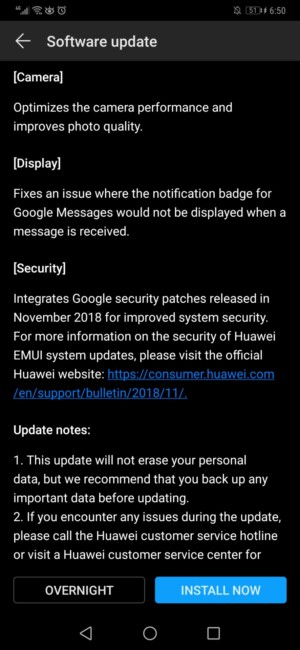 A Mate 20 Pro system update notification.