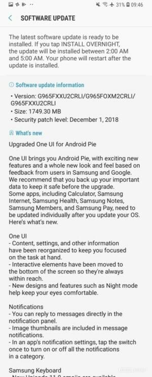 Samsung Galaxy S9/9+ Update Pie