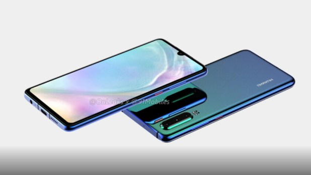 A rendered image of the Huawei P30 includes a headphone jack, no more USB-C headphones.