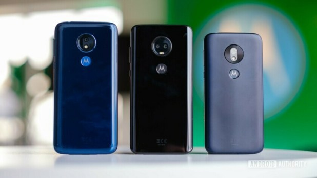 The Moto G7 family stand upright shot from behind.