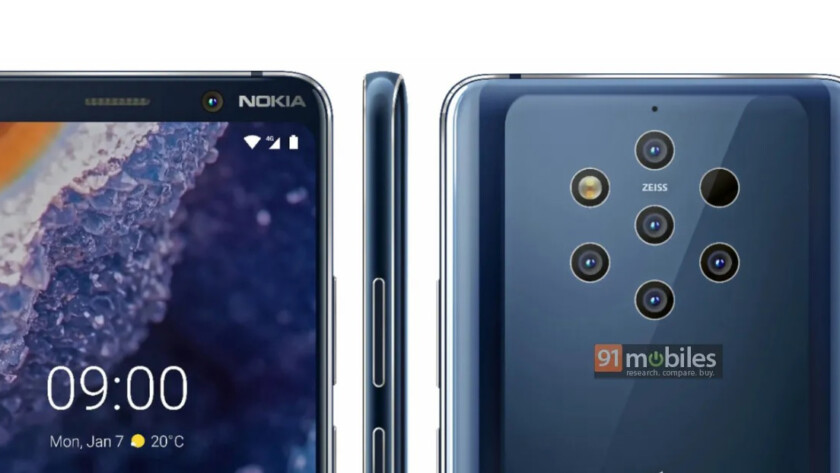 Press renders of the Nokia 9 PureView.