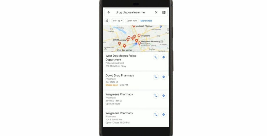 Google Maps adds drug drop off locations to help fight