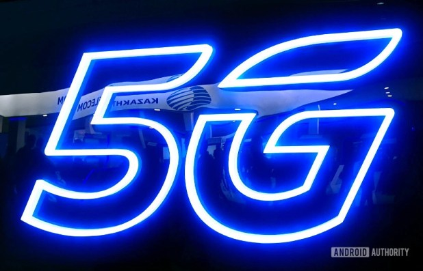 5G logo neon sign taken at MWC 2019