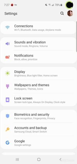 Samsung Galaxy S10 Settings