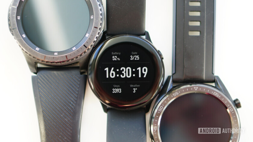 Samsung Galaxy Watch Active size comparison with Gear S3 Frontier and Huawei Watch GT