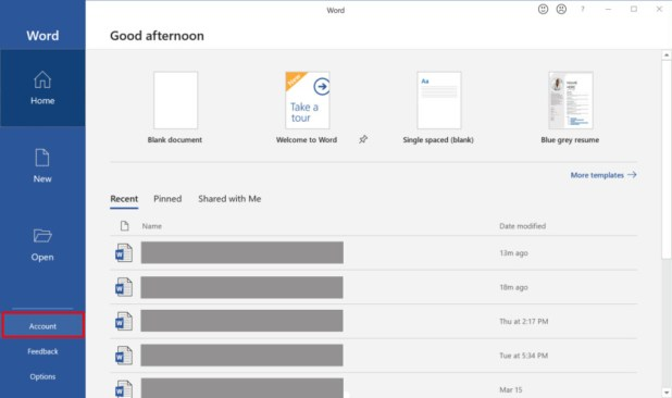 Microsoft Word home screen - How to enable dark mode in Windows 10