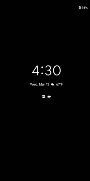 Screenshot of the always on lockscreen display on Android Q developer preview