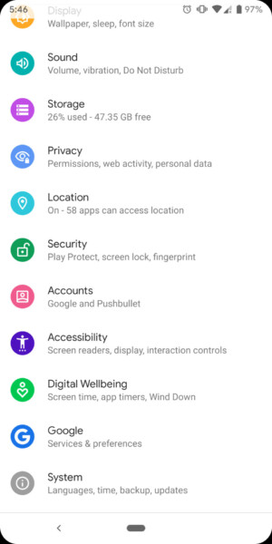 Screenshot of the Android Q developer preview privacy menu