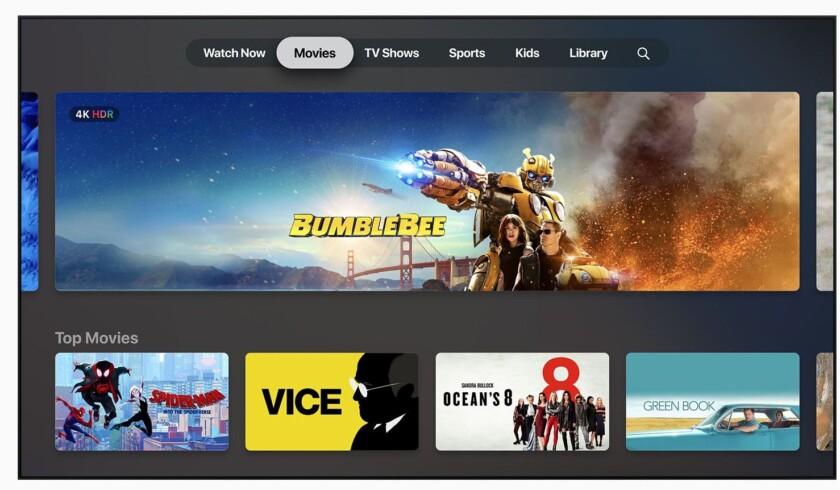 Capture d'écran de la section films Apple TV Plus.