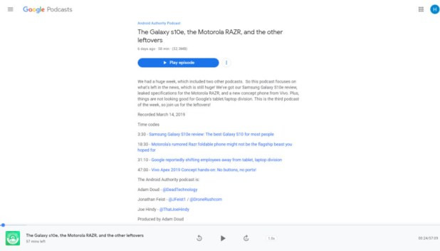 Google Podcasts website.
